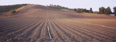 High angle view of a plowed field