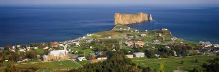 Overview of the town of Perce and Perce Rock