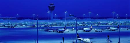Franz Josef Strauss Airport at night Munich Germa