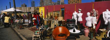Group of people in a flea market