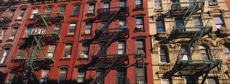 Low angle view of fire escapes on buildings