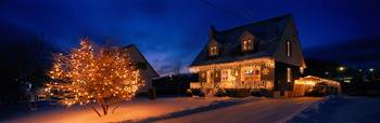 House with Christmas Lights Laurentians Canada