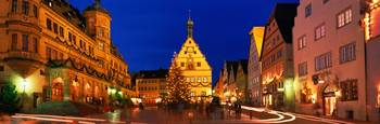 Town Center Decorated with Christmas Lights Rothe