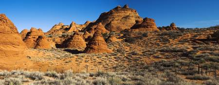 Rock formations on an arid landscape