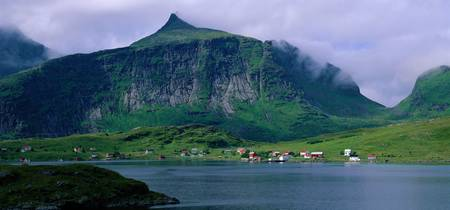 Coastal Village at Fjord Fredvang Lofoten Norway