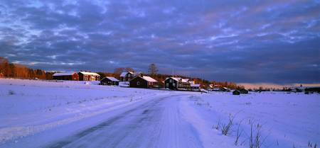 Snowy winter village Norrala Sweden