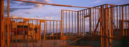 Wooden Framework Of A House Under Construction