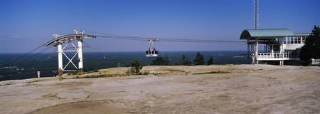 Overhead cable car on a mountain