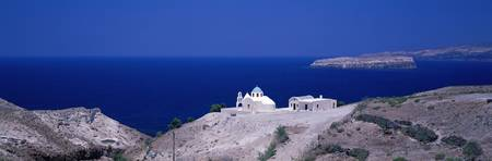 Aegean and Church near Akrotiri Santorini Greece