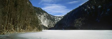 Mountains with a frozen lake