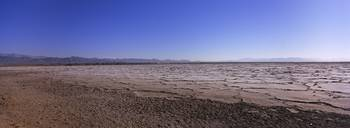 Dried lake bed in desert
