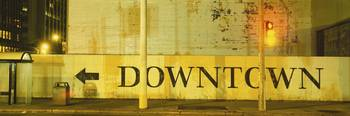 Downtown Sign Printed On A Wall