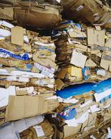 Close-up of cardboard bundles