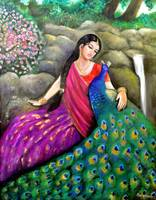 radha talking to her peacock