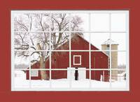 Red Farm House Picture Window Red Barn View