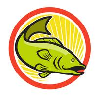 Largemouth Bass Jumping Cartoon Circle