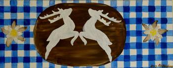 Deers on blue an white squares