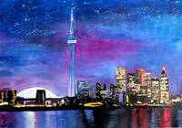 Toronto Skyline at Night with CN Tower