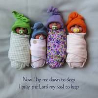 Clay Babies With Soothers and Bedtime Prayer