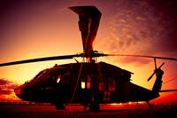 Blackhawk Medevac UH-60 Silhouette into Sunset