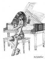 nude girl at piano
