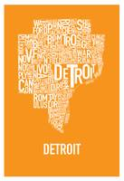 Detroit Typography Map orange
