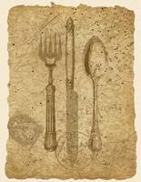 Antique Tableware Collage art - Vintage Knife, For