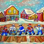 """RINK HOCKEY IN THE VILLAGE WITH FALLING SNOW"" by carolespandau"