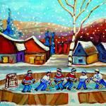 """POND HOCKEY WITH BIRCH TREE AND FALLING SNOW"" by carolespandau"