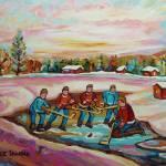 """POND HOCKEY ON FROZEN LAKE-MEMORIES OF VERMONT COU"" by carolespandau"
