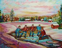 POND HOCKEY ON FROZEN LAKE-MEMORIES OF VERMONT COU