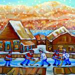 """MOUNTAINS WITH LARGE HOUSES AND POND HOCKEY"" by carolespandau"