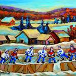 """COUNTRY SCENE POND HOCKEY WITH TREES AND MOUNTAINS"" by carolespandau"