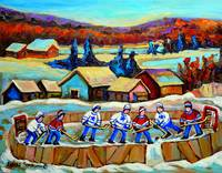 COUNTRY SCENE POND HOCKEY WITH TREES AND MOUNTAINS