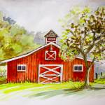 """Red Barn, Quebec"" by yvonneayoub"