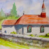 Tadoussac church, Quebec, Canada Art Prints & Posters by Yvonne Ayoub