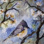 """Little Bird in Spring Garden Oil Painting"" by GinetteCallaway"