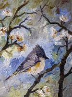 Little Bird in Spring Garden Oil Painting