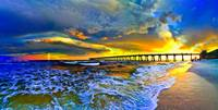 Rainbow Sunset Seascape Beach Blue Pier Art Prints
