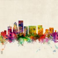 """Portland Oregon Skyline"" by ModernArtPrints"