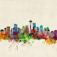 """Seattle Washington Skyline"" by ModernArtPrints"