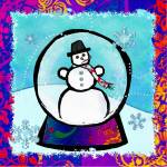 """Frost Man Snowglobe Folk Art"" by ReneeLozenGraphics"