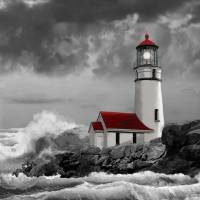 Cape Meares Lighthouse scene Art Prints & Posters by Gina Femrite