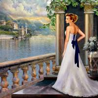Lady overlooking lake Como Italy Art Prints & Posters by Gina Femrite