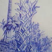 """Blue Ink Palms"" by Donna Mann"