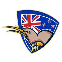 Kiwi Bird New Zealand Flag Shield Retro