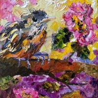 Impressionist Bird in Roses oil Painting