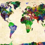 """World Map Watercolor"" by redssr03"