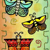 Zuni POSTERS Butterly Folk Art Art Prints & Posters by Renee Lozen