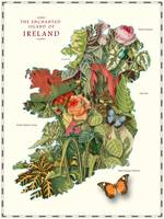 Map of Ireland with Antique Plants and Flowers